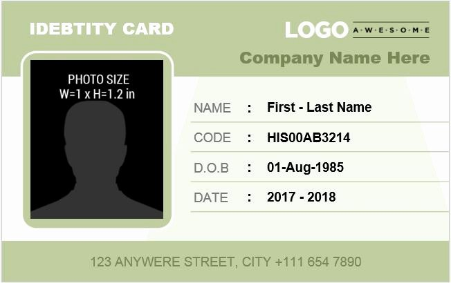 Id Card Template Word New Employee Identification Card Templates Ms Word