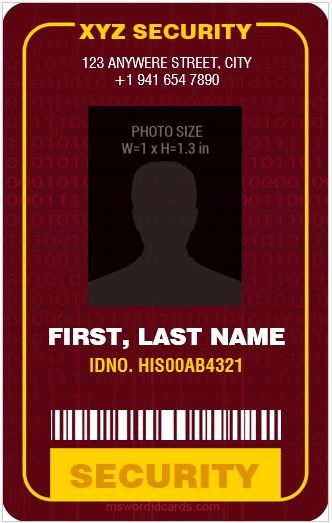 Id Card Template Word Unique 4 Best Ms Word Security Guard Id Card Templates