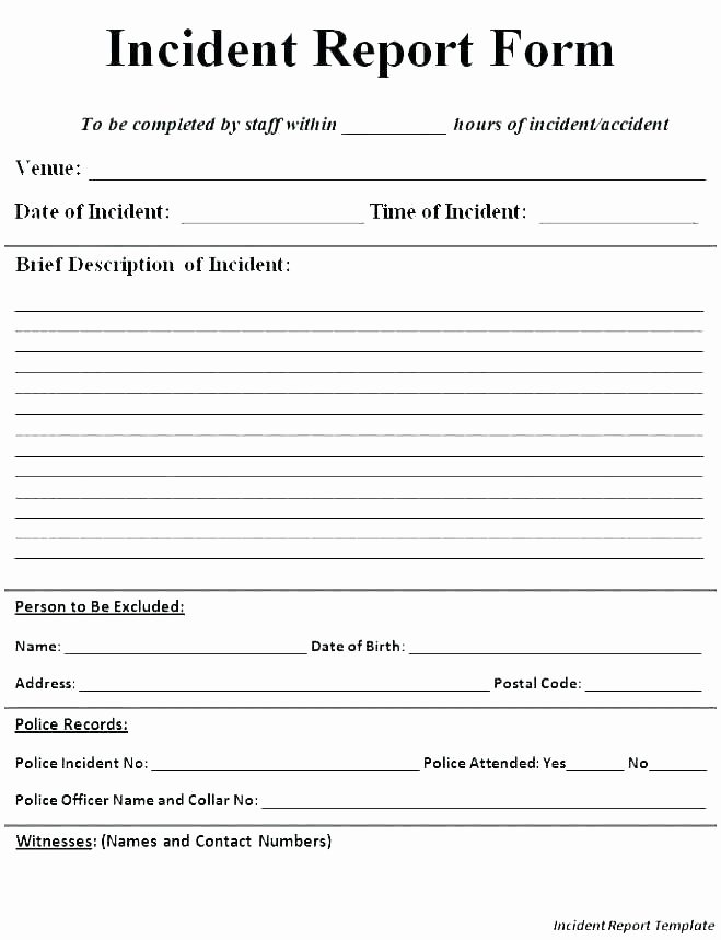 Incident Report Template Word Awesome Workplace Incident Report form Template – Ericremboldt