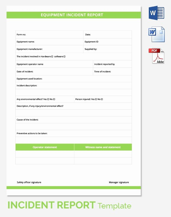 Incident Report Template Word Elegant 24 Sample Incident Reports Pdf Ms Word Pages