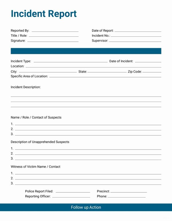 Incident Report Template Word Fresh 33 Incident Report format