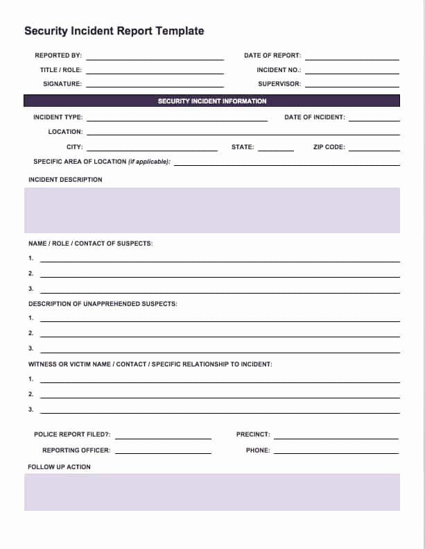 Incident Report Template Word Fresh Free Incident Report Templates Smartsheet