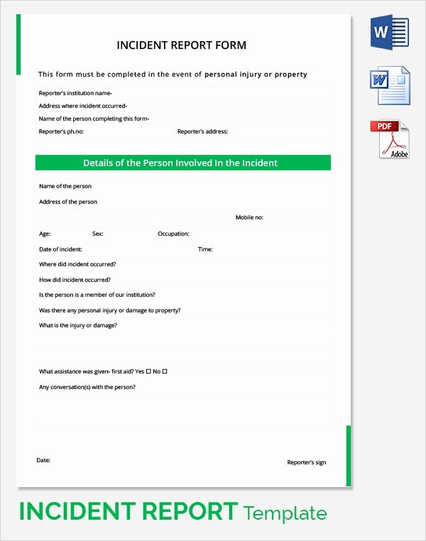 Incident Report Template Word Inspirational 24 Sample Incident Reports Pdf Ms Word Pages