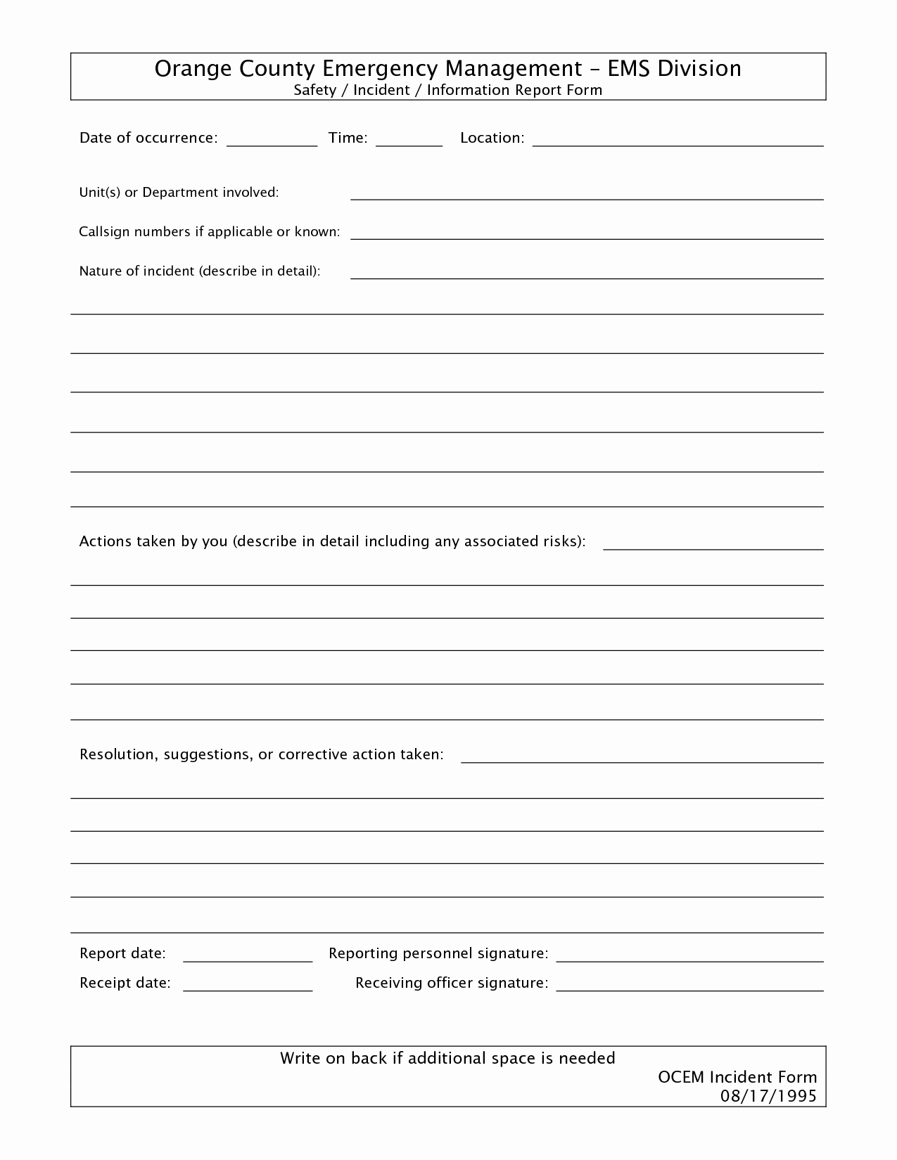 Incident Report Template Word Inspirational Best S Of Free Police Incident forms Printable