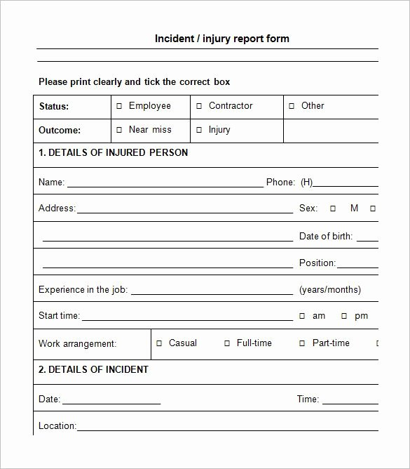 Incident Report Template Word Inspirational Incident Report form Incident Report Template
