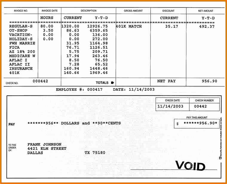 Independent Contractor Pay Stub Template Elegant 10 Fillable Pay Stub Template