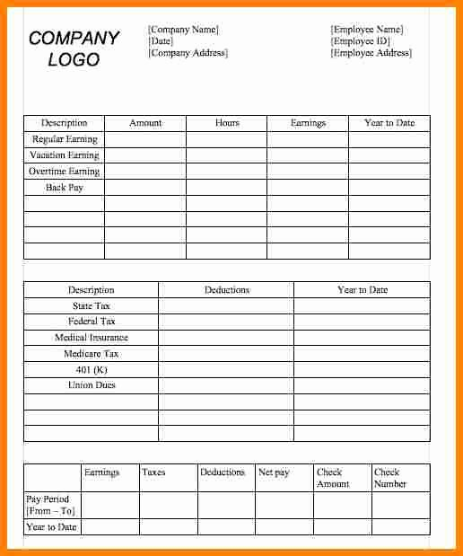 Independent Contractor Pay Stub Template Lovely 11 Simple Pay Stub Template