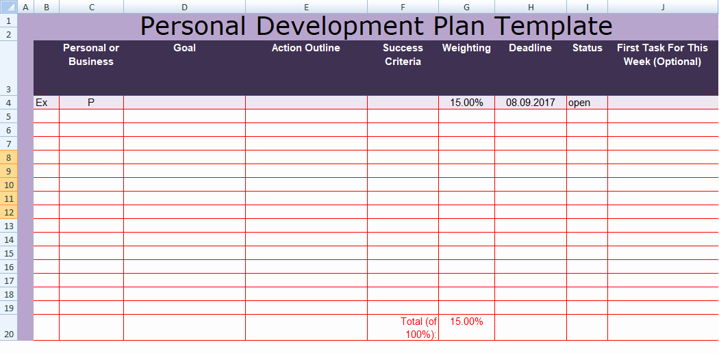Individual Developent Plan Template Lovely Get Personal Development Plan Template Excel