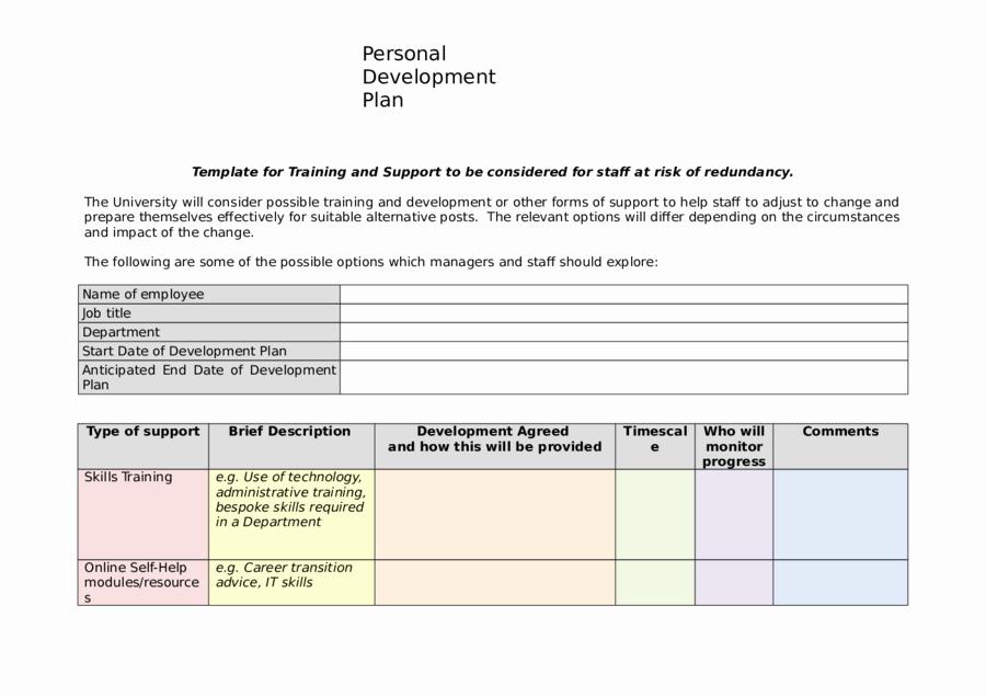 Individual Developent Plan Template Unique 2019 Personal Development Plan Fillable Printable Pdf