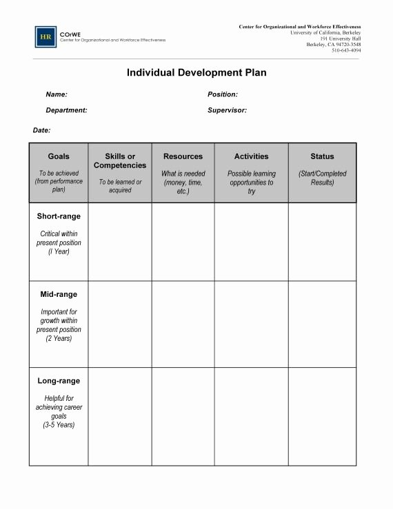 Individual Development Plan Examples New Instead Of Pretending You Have A Plan for the People who