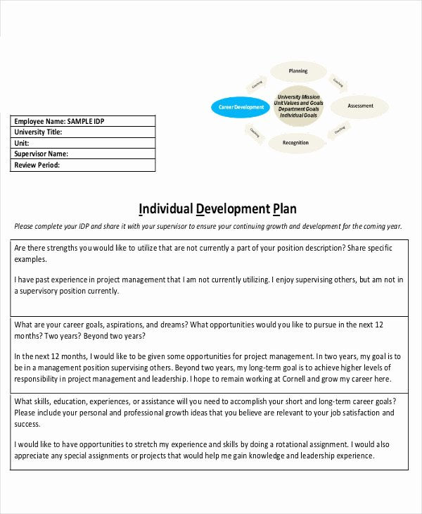 Individual Development Plan Template Elegant Individual Development Plan for Employees – Business form