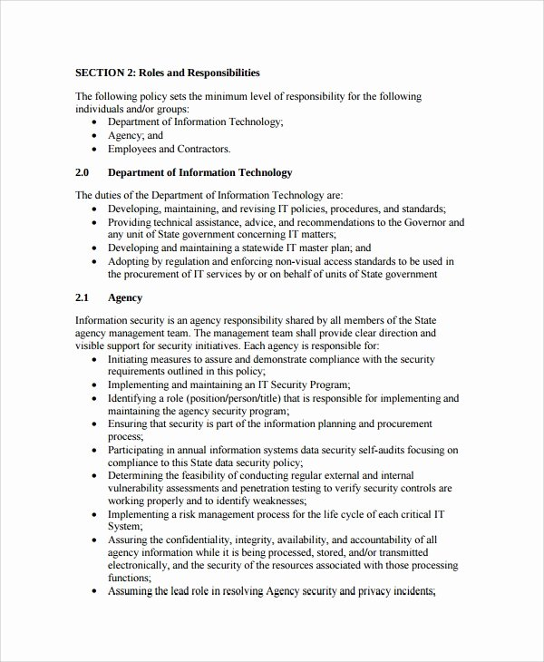 Information Security Policies Templates Awesome Sample It Security Policy Template 9 Free Documents