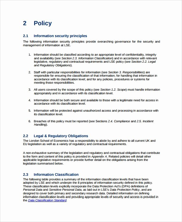 Information Security Policies Templates Beautiful Sample It Security Policy Template 9 Free Documents
