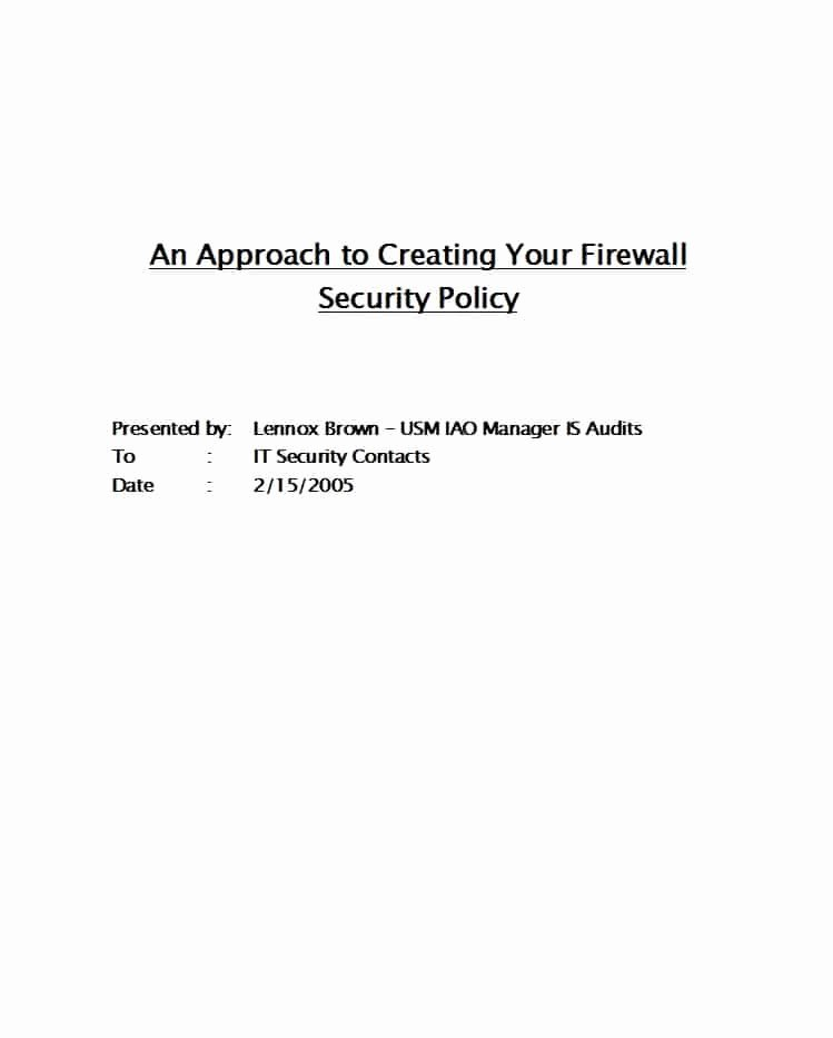 Information Security Policies Templates Inspirational 42 Information Security Policy Templates [cyber Security