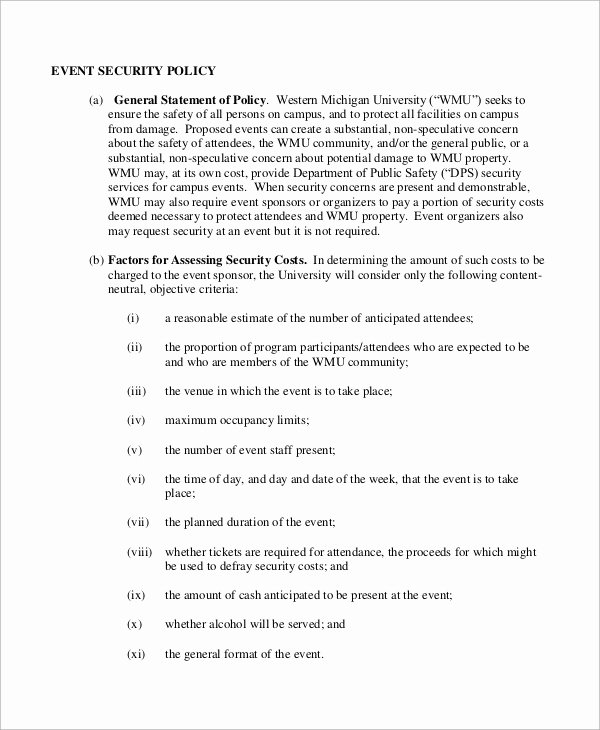 Information Security Policies Templates New Security Policy Sample 8 Examples In Word Pdf
