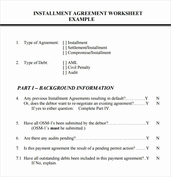 Installment Payment Agreement Template Fresh Installment Agreement – 7 Free Samples Examples format