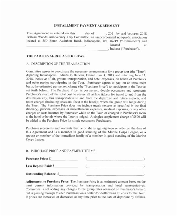 Installment Payment Agreement Template Fresh Payment Agreement Contract Sample 17 Examples In Word