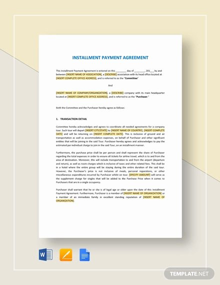 Installment Payment Agreement Template Inspirational 22 Payment Agreement Templates Word Pdf Google Docs