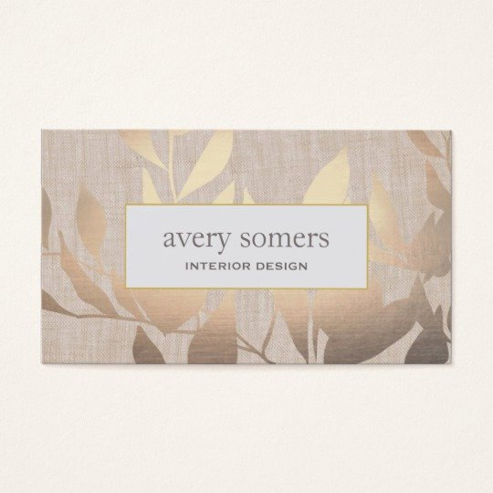 Interior Design Business Cards Awesome Elegant Gold Leaves Modern Interior Design Beige Business