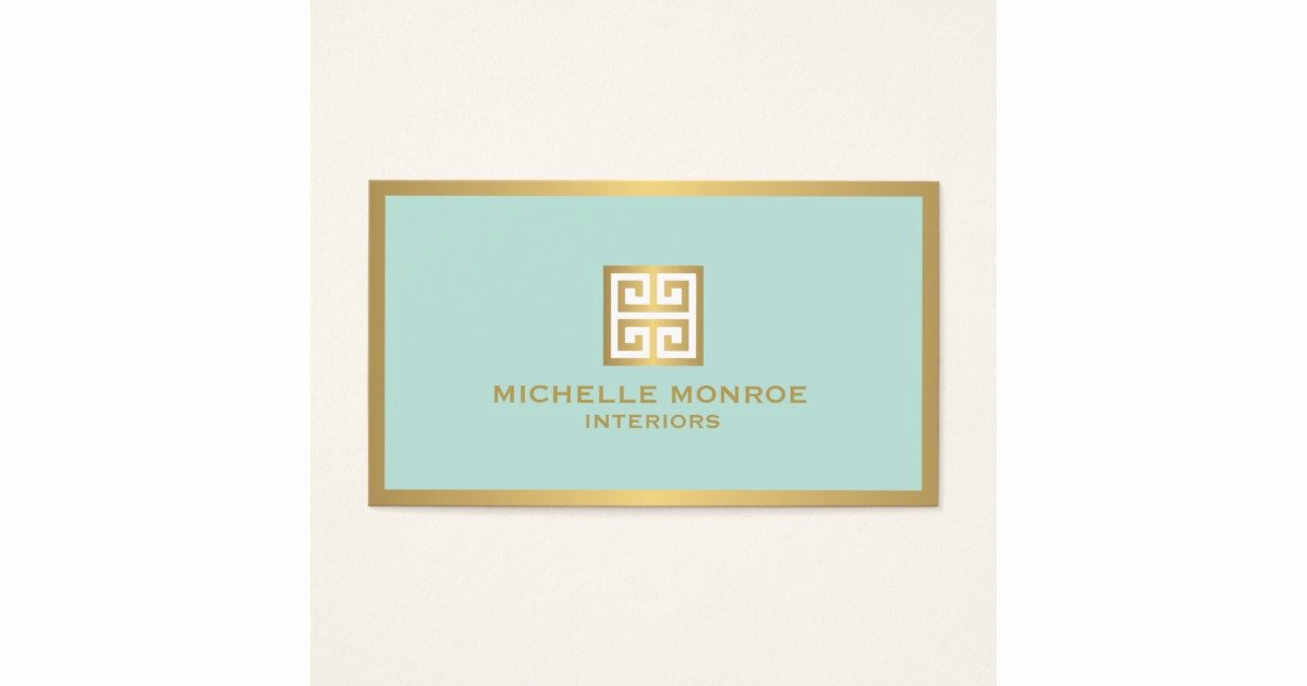 Interior Design Business Cards Best Of Elegant Gold Greek Key On Mint Interior Designer Business