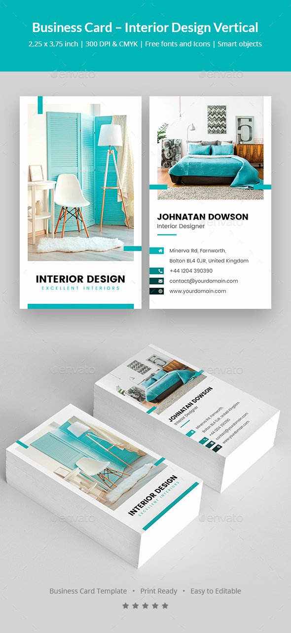 Interior Design Business Cards Elegant Business Card – Interior Design Vertical by Artbart