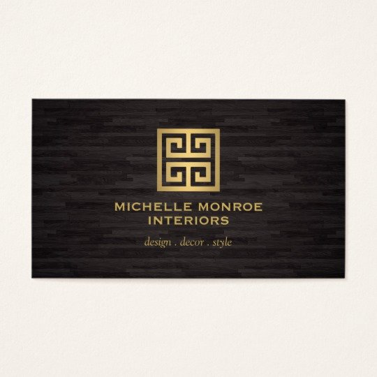 Interior Design Business Cards Luxury Elegant Gold Greek Key Interior Designer Woodgrain