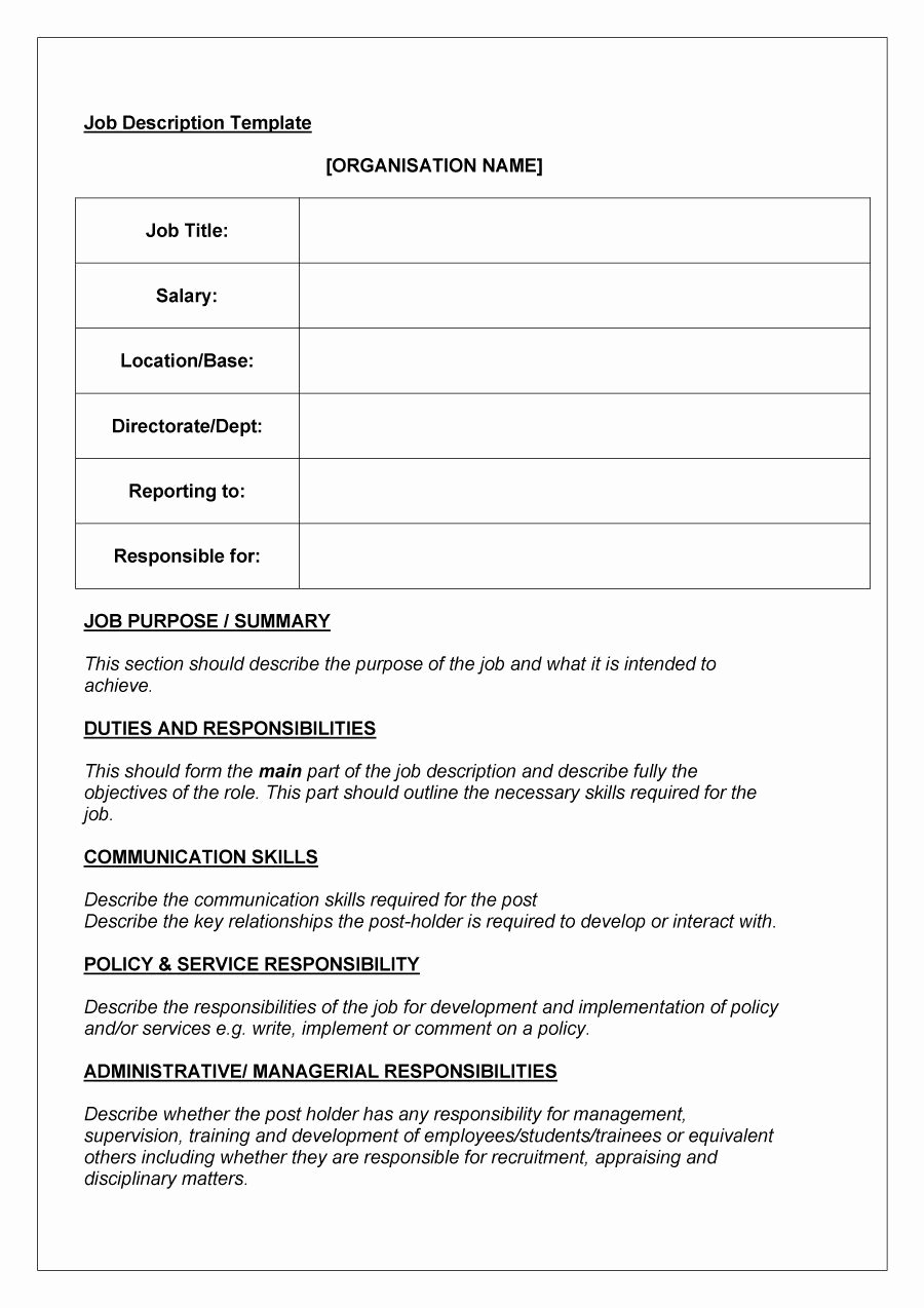 Job Description Template Word Awesome 49 Free Job Description Templates & Examples Free