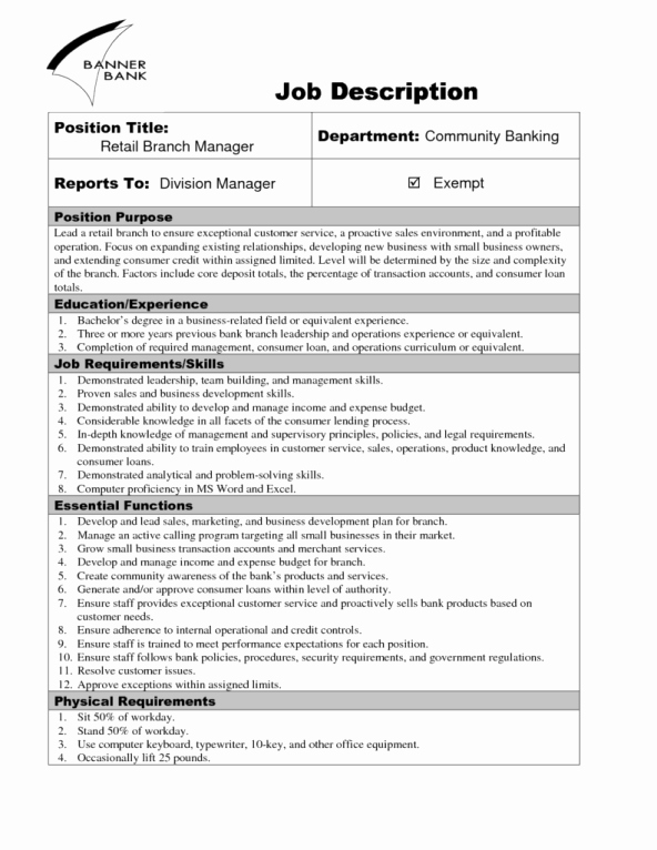 Job Description Template Word Best Of 9 Job Description Templates Word Excel Pdf formats