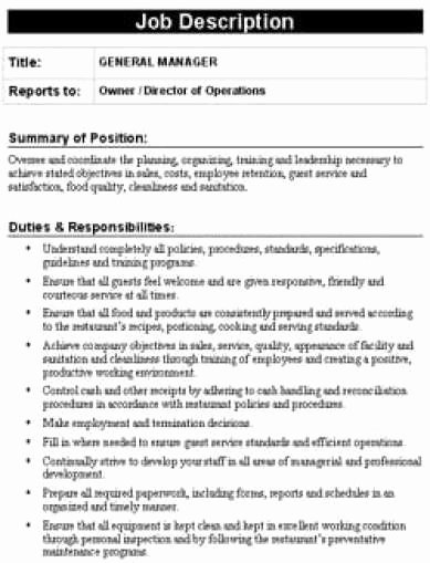 Job Description Template Word Elegant 19 Free Job Description Templates In Word Excel Pdf