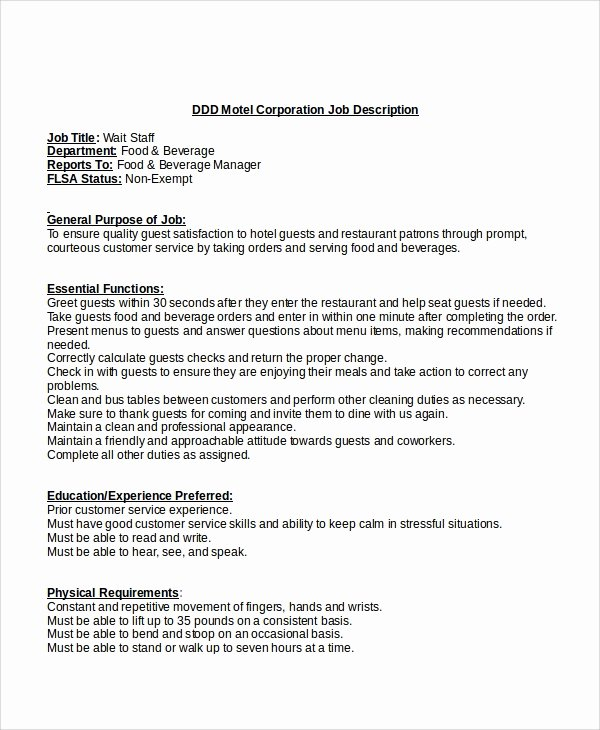 Job Description Template Word Inspirational 12 Job Description Templates In Word