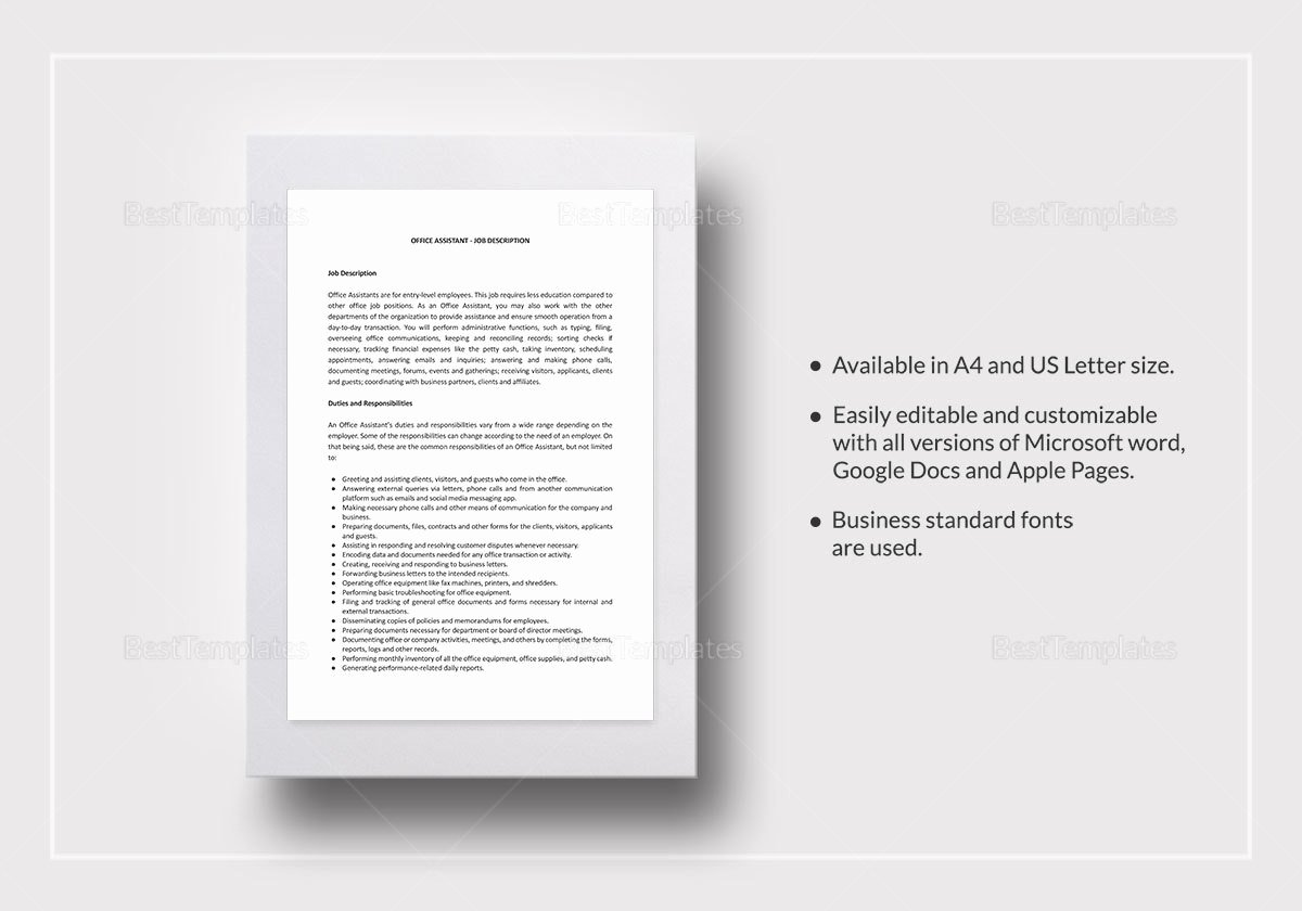 Job Description Template Word Inspirational Fice assistant Job Description Template In Word Google