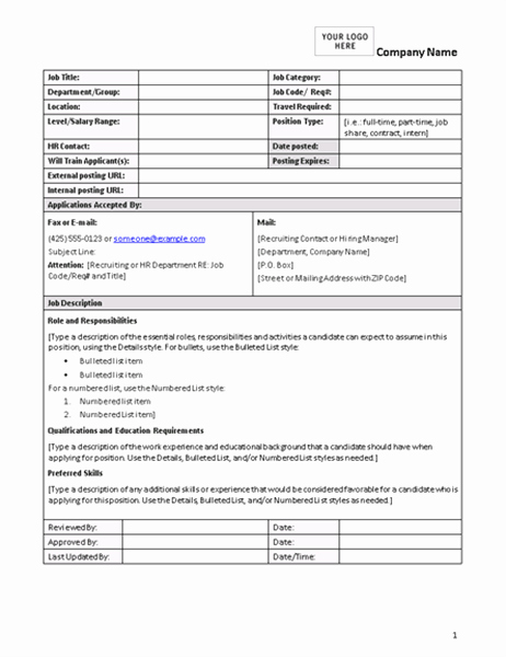Job Description Template Word Lovely Job Description form