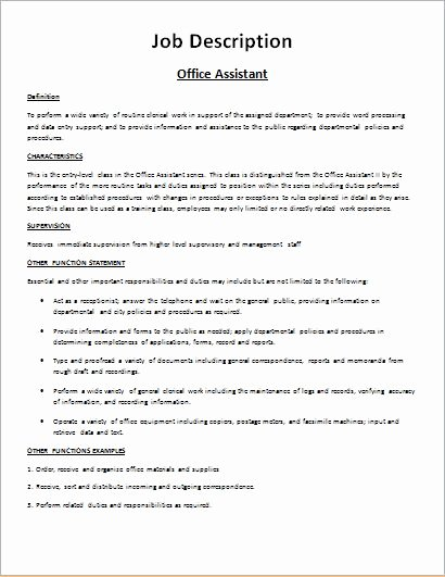 Job Description Template Word Luxury Job Description form Templates for Ms Word