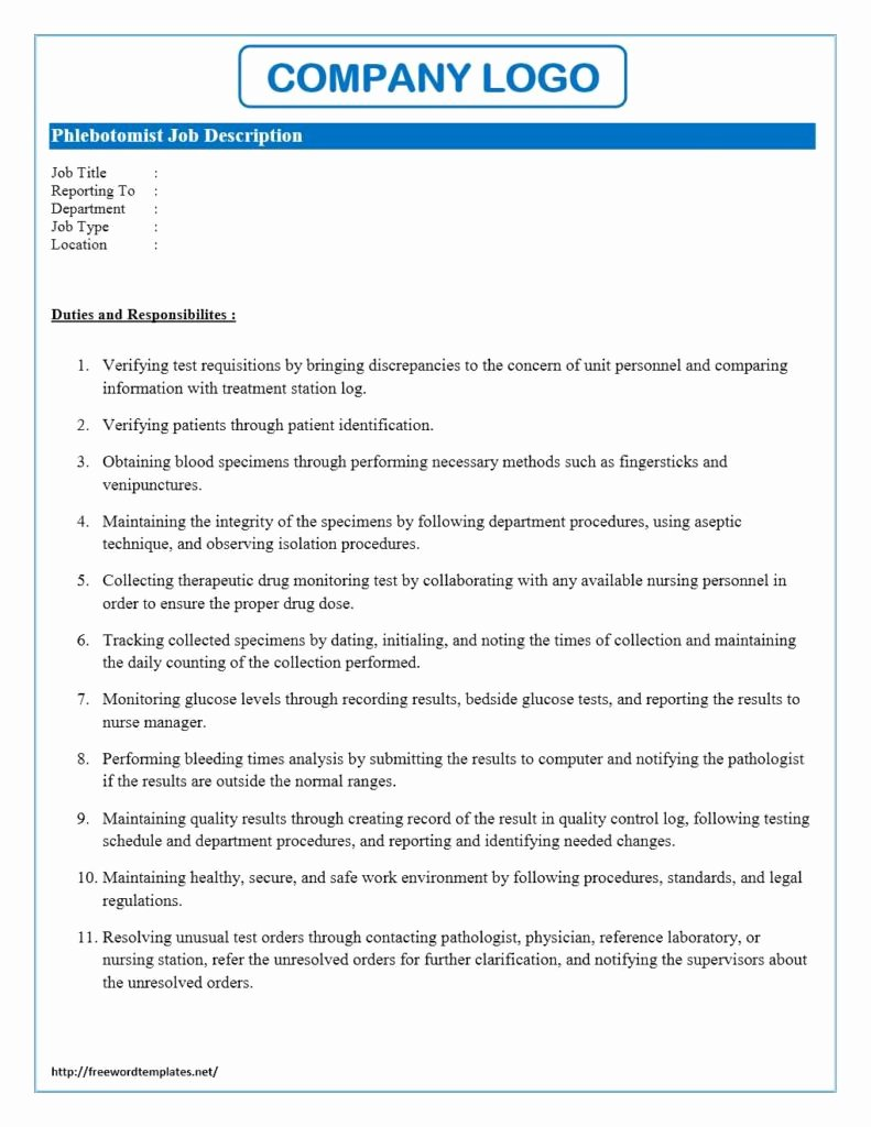 Job Description Template Word Luxury Phlebotomist Job Description