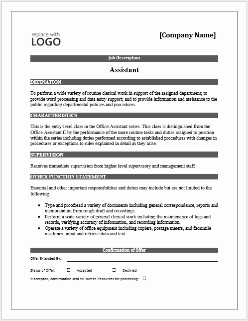Job Description Template Word New 11 Elements Of A Job Description form Small Business