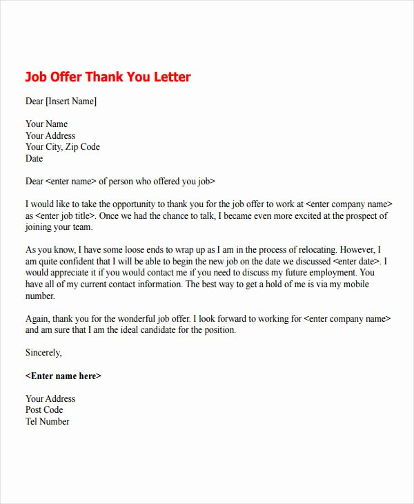 Job Offer Letter Example Best Of 7 Job Fer Thank You Letter Templates Free Samples