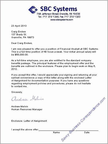 Job Offer Letter Example Best Of A Job Offer Letter format