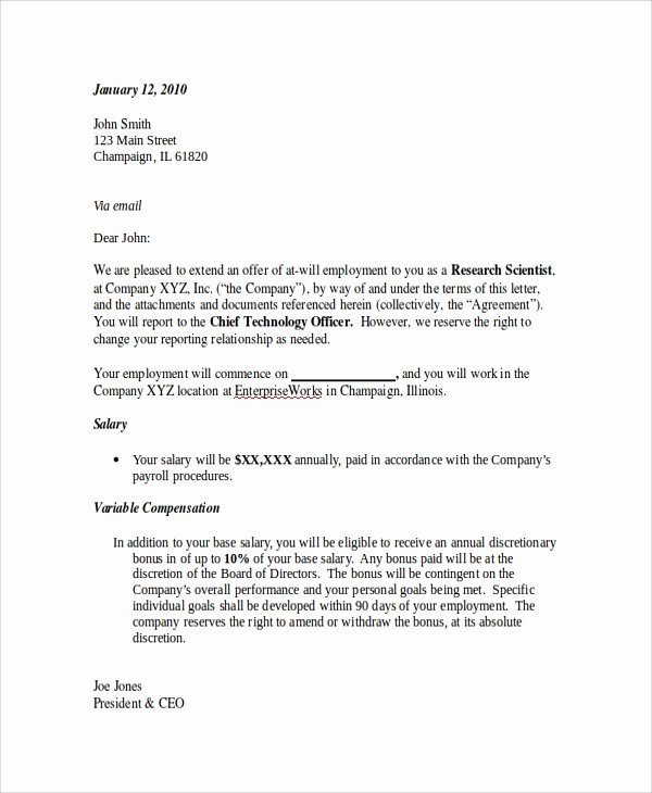 Job Offer Letter Example Best Of Sample Employment Fer Letter 8 Documents In Pdf Word