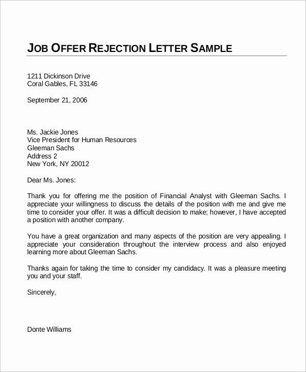 Job Offer Letter Example Best Of Sample Fer Letter 10 Examples In Word Pdf