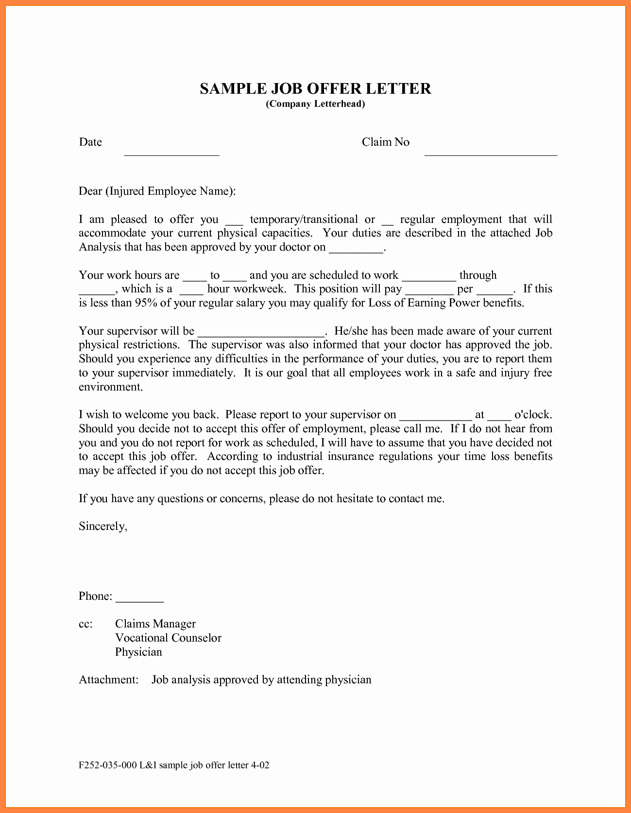 Job Offer Letter Example Inspirational 10 Offer Of Employment Letter