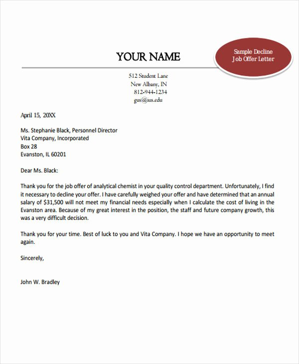 Job Offer Letter Example Inspirational 7 Job Fer Thank You Letter Templates Free Samples