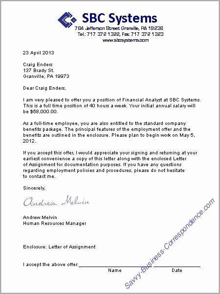 Job Offer Letter Example Inspirational A Job Offer Letter format Business Letters