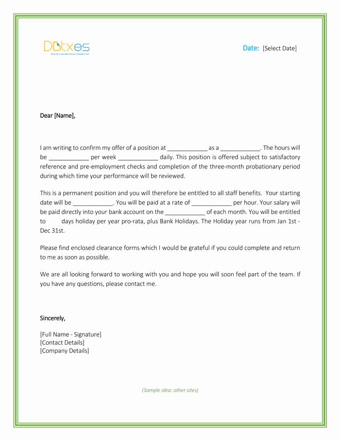 Job Offer Letter Example Lovely Job Fer Letter Template for Word