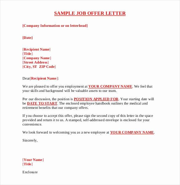 Job Offer Letter Example New 75 Fer Letter Templates Pdf Doc