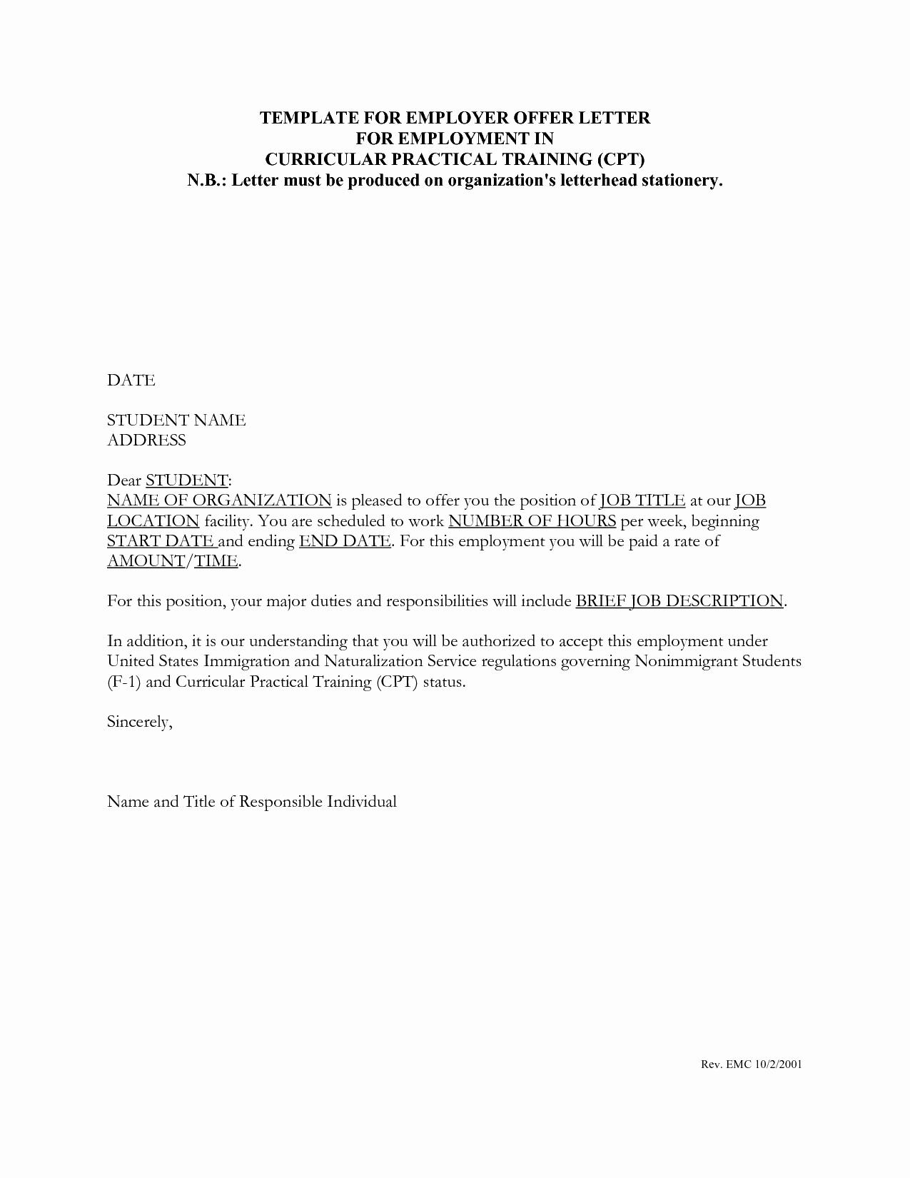 Job Offer Letter Example New Job Fer Letter Template