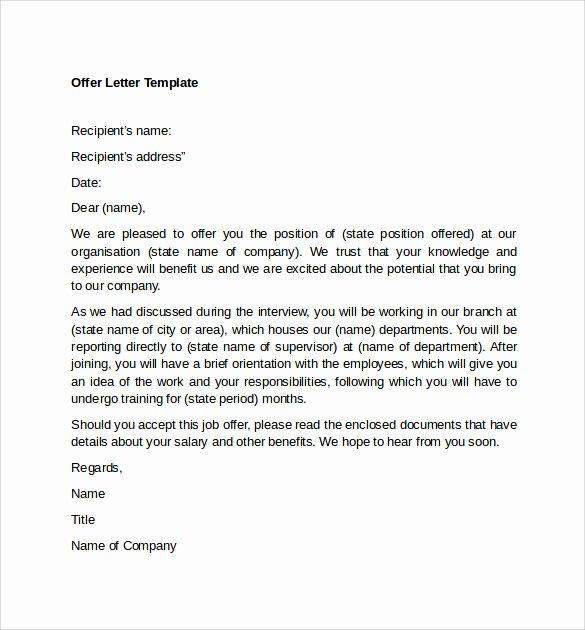 Job Offer Letter Example Unique Sample Fer Letter Template 14 Free Examples format