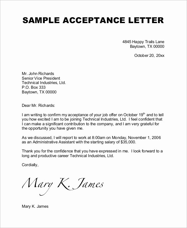 Job Offer Thank You Letter Awesome Sample Job Acceptance Letter 7 Examples In Word Pdf