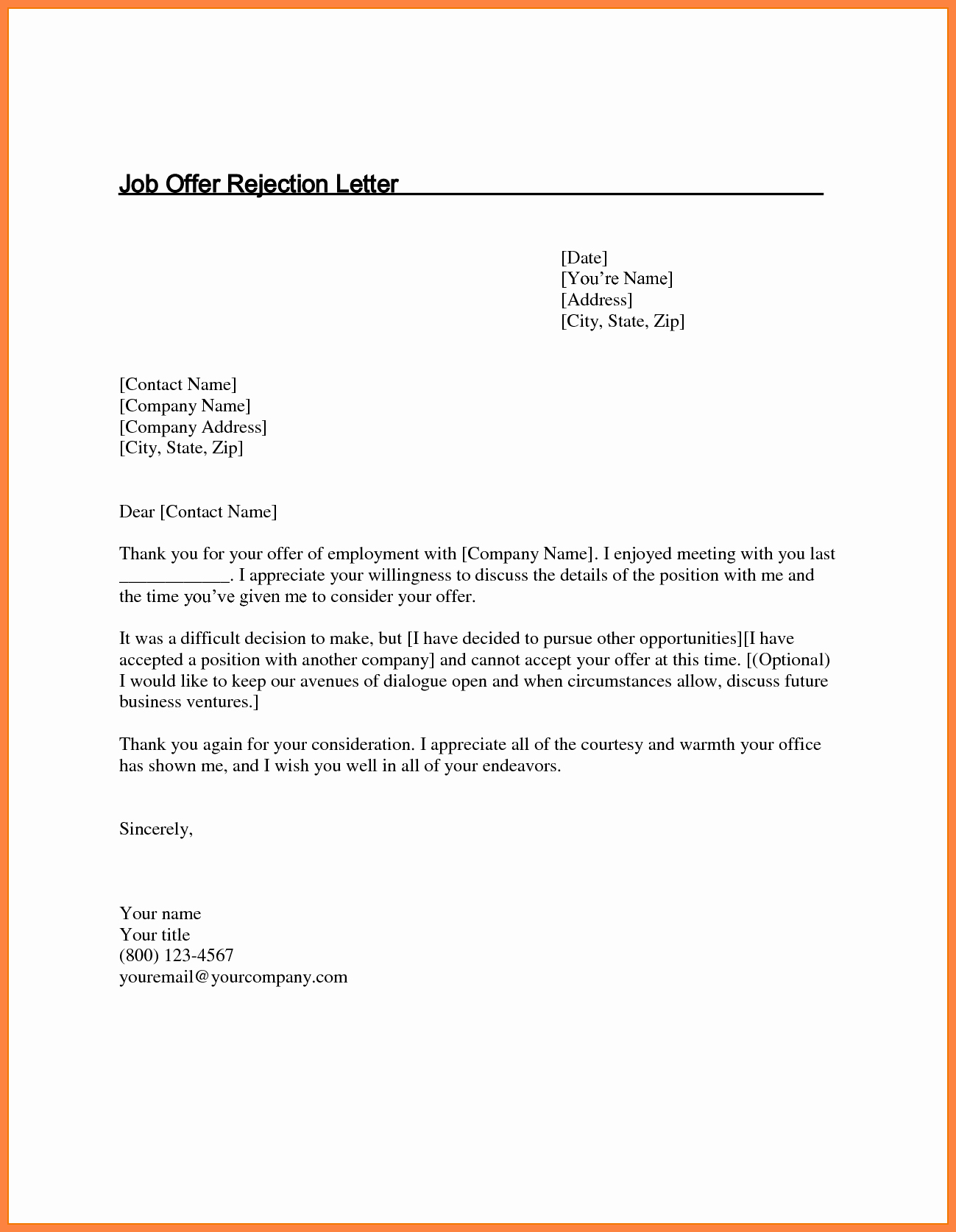 Job Offer Thank You Letter Beautiful 5 Job Offer Rejection Letter
