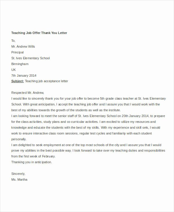Job Offer Thank You Letter Beautiful 8 Job Fer Thank You Letter Templates Pdf Doc Apple
