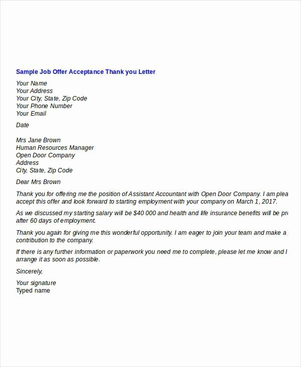 Job Offer Thank You Letter Beautiful Job Fer Thank You Letter Template